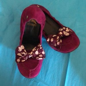 Burberry Fuchsia Suede Ballet Flats w/Bow Detail